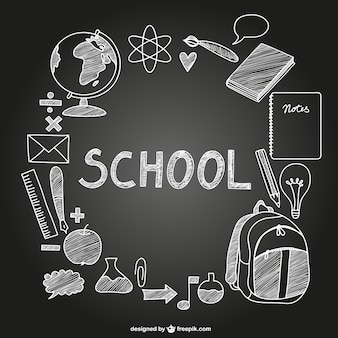 Ícones da escola vetor no quadro-negro