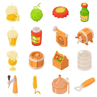 Ícones da etiqueta da bebida do vidro de garrafa da cerveja ajustados. ilustração isométrica de 16 ícones de vetor de rótulo de bebida de garrafa de cerveja de vidro para web