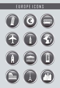 Ícones da europa sobre ilustração vetorial de fundo cinza