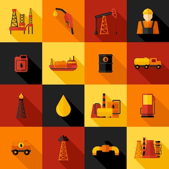 Ícones da indústria de petróleo flat