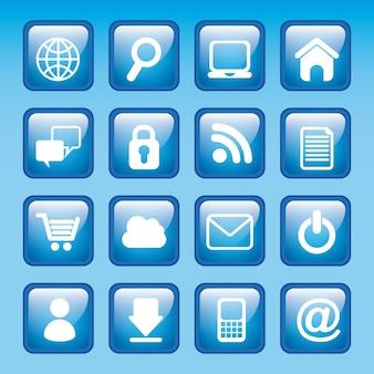 Ícones da internet sobre ilustração vetorial de fundo azul
