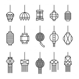 Ícones da lâmpada de suspensão