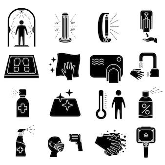 Ícones da linha de desinfecção. limpeza e desinfetante de superfície, frasco de spray, gel de lavagem para as mãos, lâmpada uv, tapete desinfetante, termômetro infravermelho, dispensador, túnel de desinfecção. regras do coronavírus. glyph. vetor