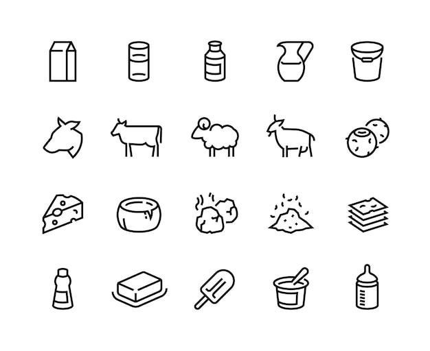 Ícones da linha de leite. produtos lácteos de manteiga e creme de iogurte de queijo, comida orgânica de fazenda, ovelha de cabra vaca e leite de coco. vector conjunto de ilustrações planas ícone de comida saudável