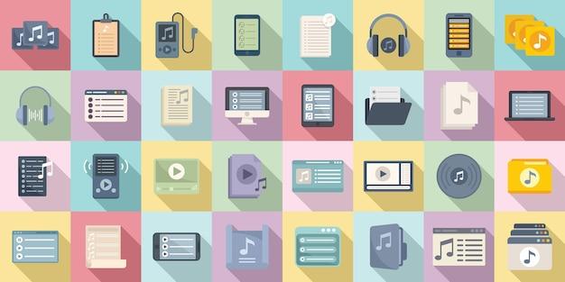 Ícones da lista de reprodução definir vetor plana. ouvir música em grupo. lista de reprodução de fones de ouvido