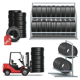Ícones da loja de pneus de vetor