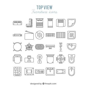 Ícones da mobília em visão superior