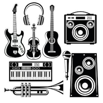 Ícones da música com alto-falantes e instrumentos.