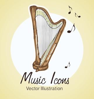 Ícones da música (objetos e elementos de instrumentos)