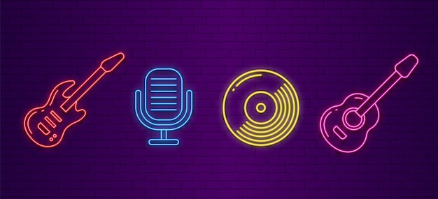 Ícones da música. sinais de instrumentos musicais de néon.