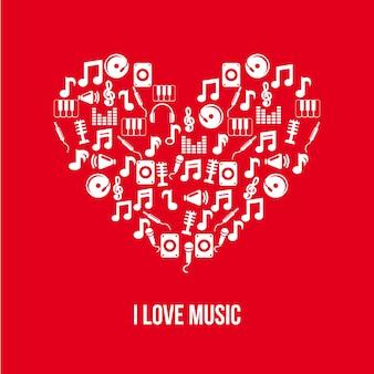 Ícones da música sobre ilustração vetorial de fundo vermelho