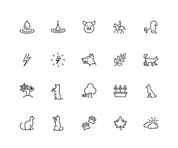 Ícones da natureza. conjunto de ícones de vinte linhas. cachorro, relâmpago, planta de casa.