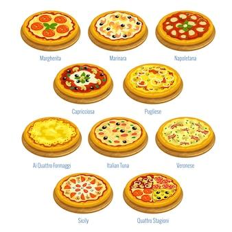 Ícones da pizza ilustração dos elementos do menu da pizzaria