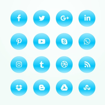 Ícones da rede de mídia social azul conjunto