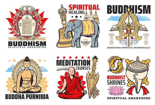 Ícones da religião do budismo, buda purnima e cursos de meditação