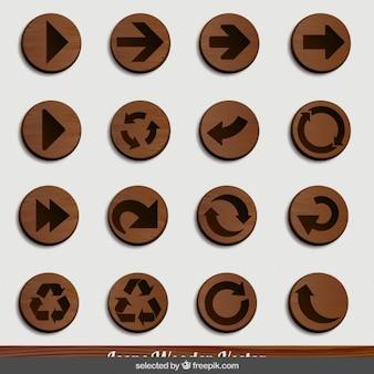 Ícones da seta de madeira
