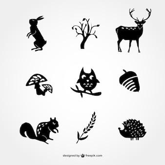 Ícones da silhueta da floresta