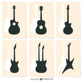 Ícones da silhueta da guitarra do vetor