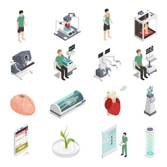 Ícones da tecnologia do futuro da medicina