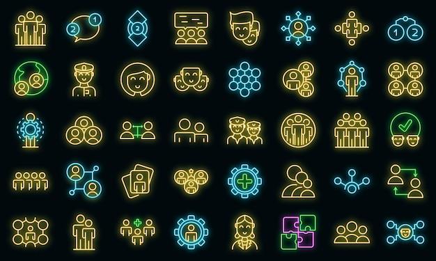 Ícones da tripulação definidos vetor neon