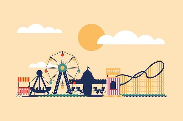 Ícones da vista lateral do parque de diversões