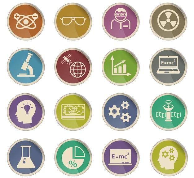 Ícones da web científica na forma de etiquetas de papel redondas