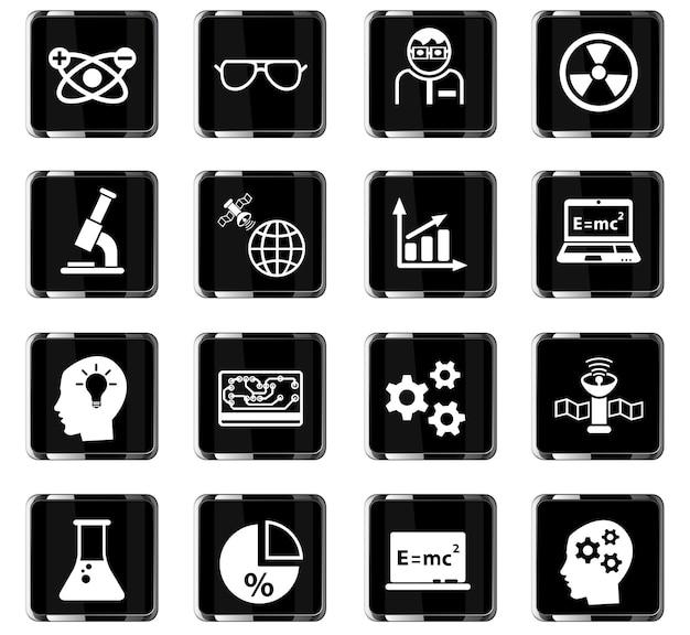 Ícones da web da ciência para o design da interface do usuário