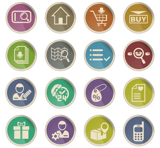 Ícones da web da interface de comércio eletrônico na forma de etiquetas de papel redondas