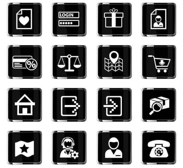 Ícones da web da interface de comércio eletrônico para design da interface do usuário