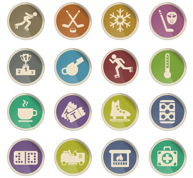 Ícones da web da pista de gelo em forma de etiquetas de papel redondas