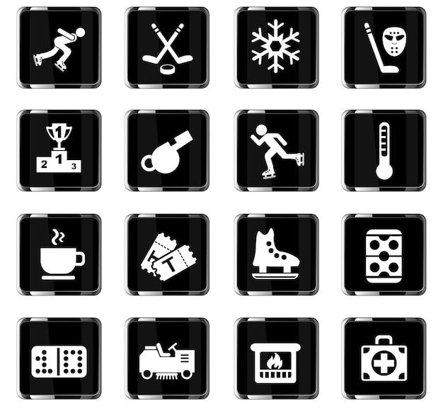 Ícones da web da pista de gelo para design de interface do usuário