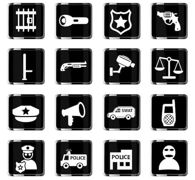 Ícones da web da polícia para design de interface de usuário