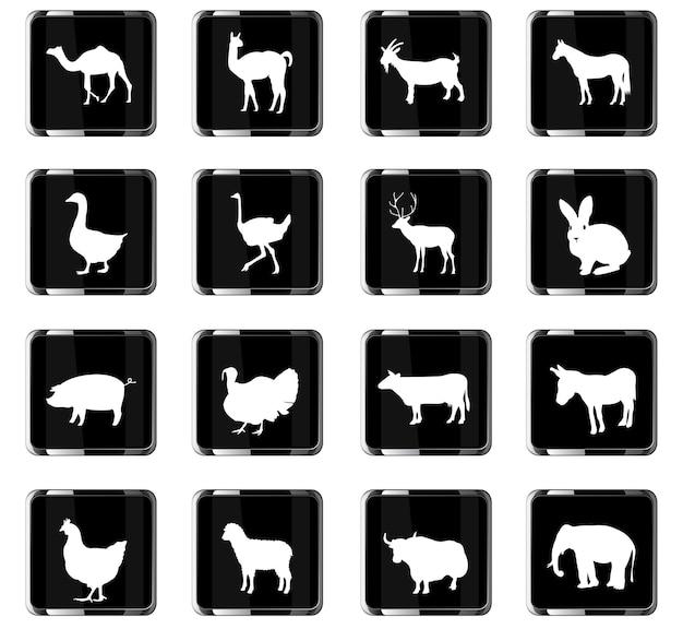 Ícones da web de animais de fazenda para design de interface do usuário