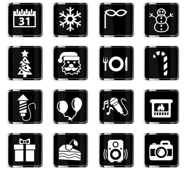 Ícones da web de ano novo para design de interface do usuário