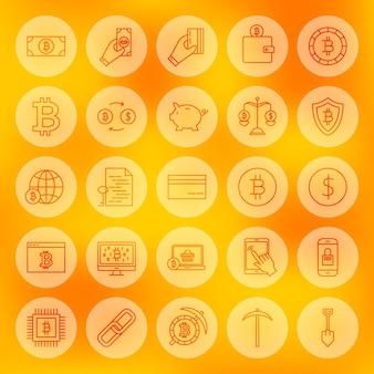 Ícones da web de bitcoin de linha. ilustração em vetor de símbolos de criptomoeda de contorno sobre fundo desfocado.