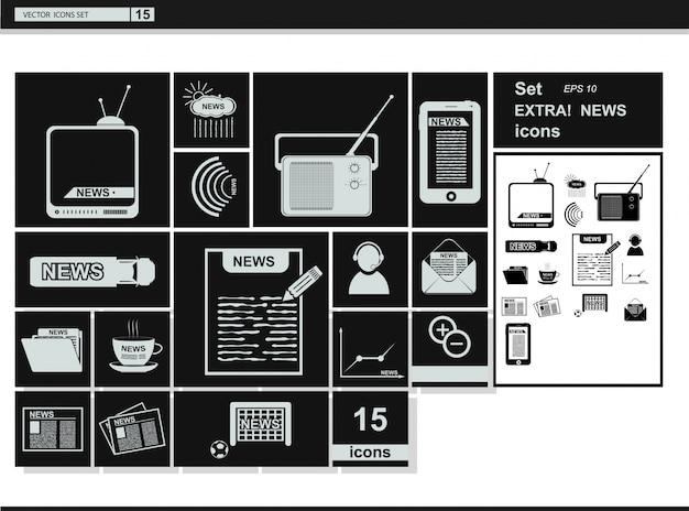 Ícones da web de coleção de vetores. notícias da mídia
