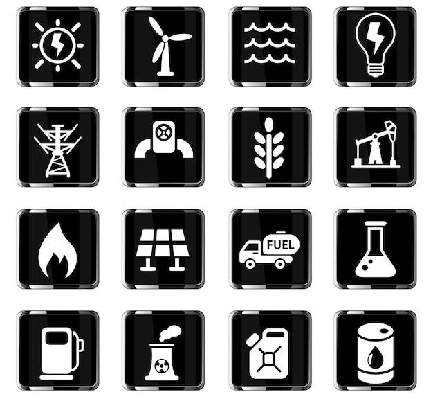 Ícones da web de combustível e energia para design de interface de usuário