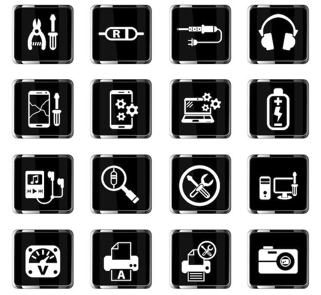Ícones da web de conserto de eletrônicos para design de interface de usuário