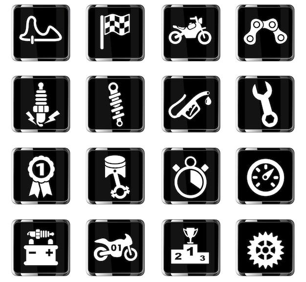 Ícones da web de corridas de moto para design de interface de usuário