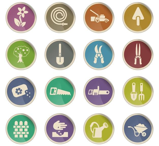 Ícones da web de design de paisagem na forma de etiquetas de papel redondas