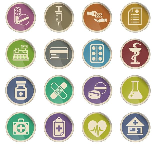 Ícones da web de drogarias para o usuário na forma de etiquetas de papel redondas