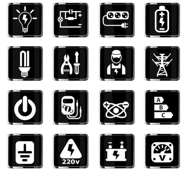 Ícones da web de eletricidade para design de interface de usuário