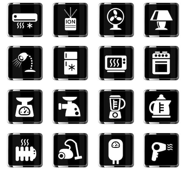 Ícones da web de eletrodomésticos para design de interface de usuário