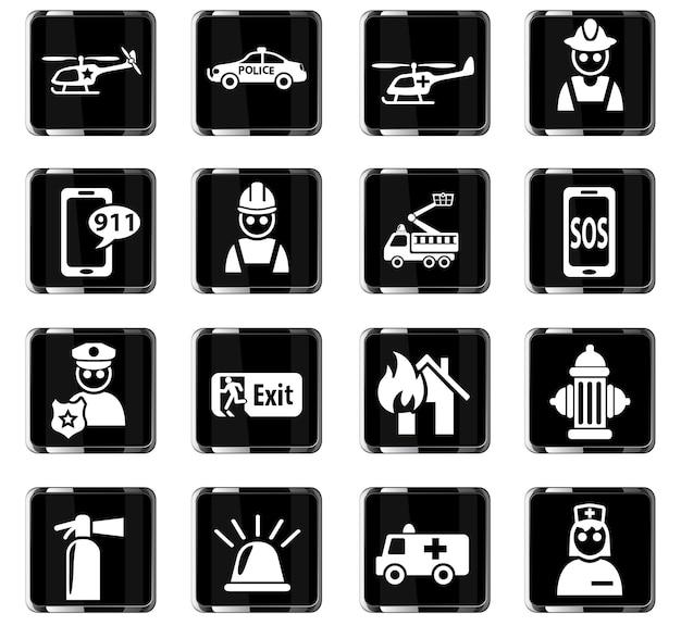 Ícones da web de emergência para o design da interface do usuário