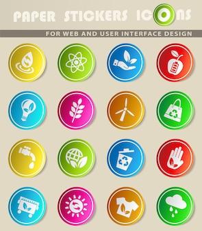 Ícones da web de energia alternativa para o design da interface do usuário
