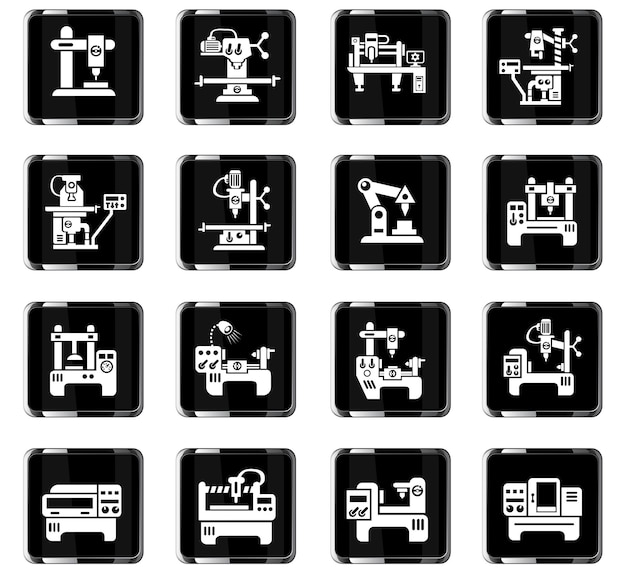 Ícones da web de equipamentos industriais para design de interface de usuário