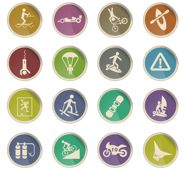 Ícones da web de esportes radicais na forma de etiquetas de papel redondas