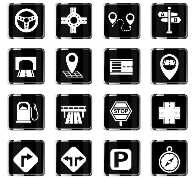 Ícones da web de estradas para design de interface de usuário Vetor Premium