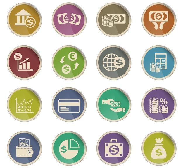 Ícones da web de finanças empresariais na forma de etiquetas de papel redondas