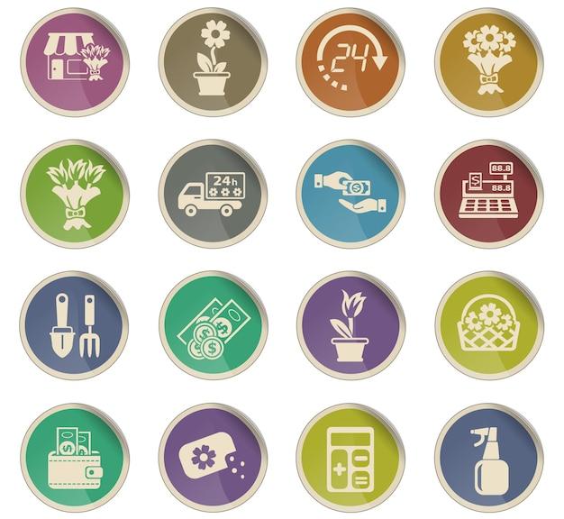 Ícones da web de floricultura na forma de etiquetas redondas de papel